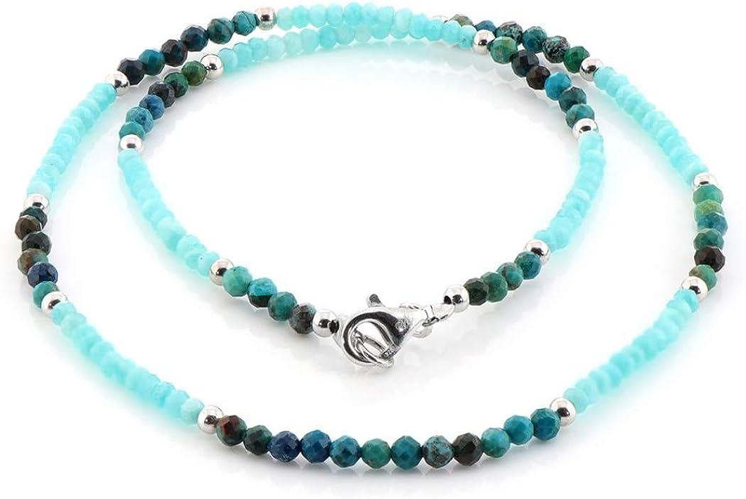 Gemshiner Crisocola Natural en Plata de Ley 925 y Collar de amazonita Collar de Perlas de Piedras Preciosas, Collar Azul, Collar de Piedras Preciosas de Plata esterlina para su Regalo de cumpleaños