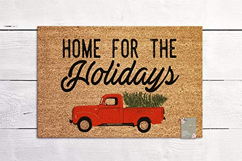 Home for the Holiday Door mat Seasonal Welcome Door Mats Red Vintage Truck New Home Gift Coconut Fiber Door mat Coir Mat Outdoor Doormat (Coir Mat Christmas Door)