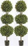 Two 56 Inch Artificial Boxwood Triple Ball Trees Potted