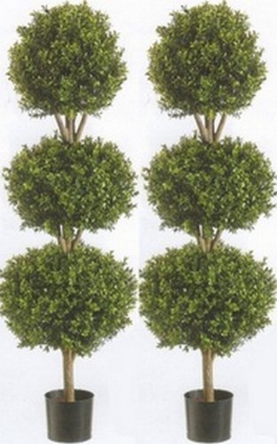 Two 56 Inch Artificial Boxwood Triple Ball Trees Potted by Silk Tree Warehouse
