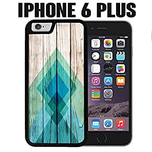 iPhone Case Geometric Blue Pattern on Wood for iPhone 6 PLUS Rubber Black (Ships from CA)