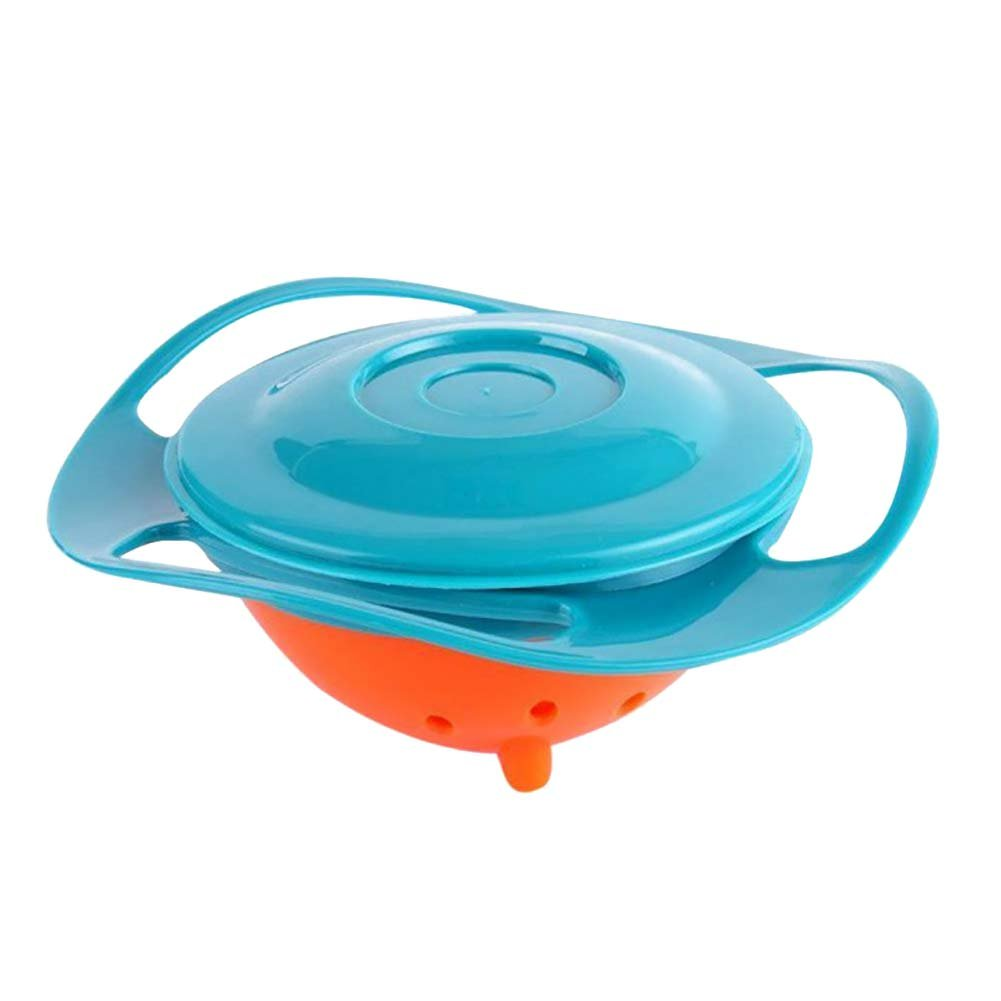 XIYAO Toddler Baby Magic Bowl 360 Degree Rotation Spill Resistant Gyro Bowl with Lid for Kids Children