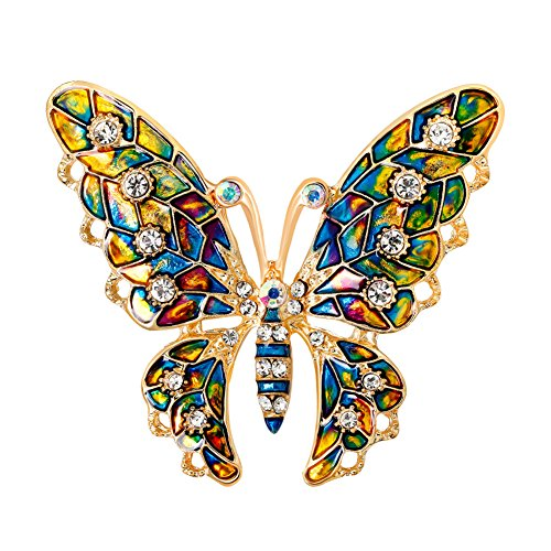 Butterfly Brooch Dress (Afco Women Butterfly Rhinestone Brooch Pin,Colorful Metal Lapel Broochpin Dress Jewelry Decor)