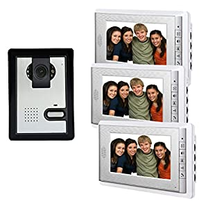 AMOCAM 7″ LCD Monitor Wired Video Intercom Doorbell for Home Security Systems Video Door Phone Bell Kits Support Monitoring, Unlock, Dual-Way Door Intercom IR Night Vision
