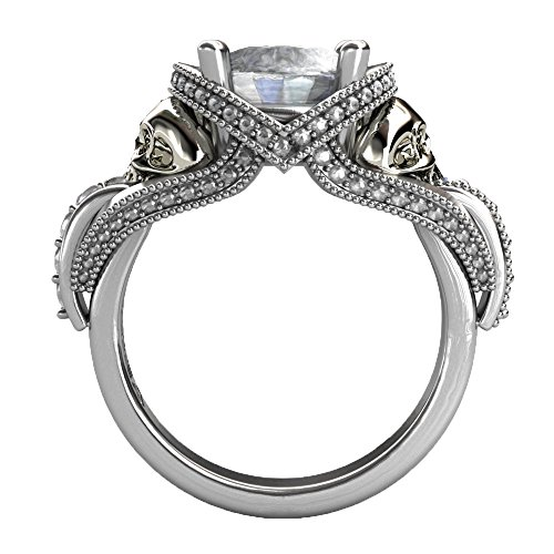 EVBEA CZ Skull Engagement Ring for Women Gothic Bling Jewelry Cocktail Aphrodite Solitaire Diamond Ring (11)