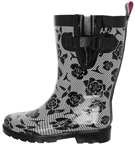 Capelli New York Ladies Lace and Roses Printed Mid- Calf Rain Boot Black Combo 8 by Capelli New York (Image #3)