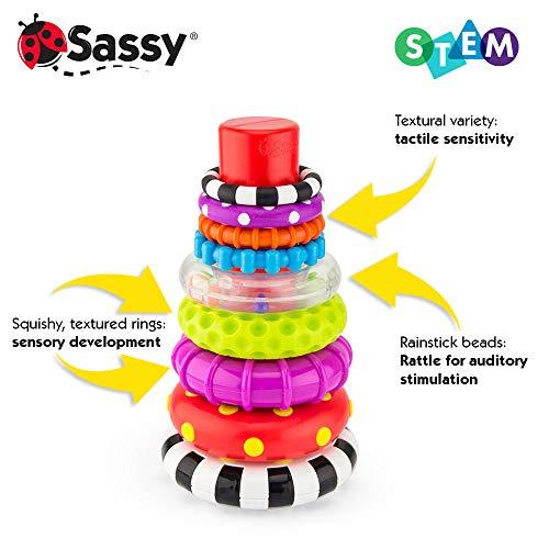 51Xu804YoDL - Sassy Stacks of Circles Stacking Ring STEM Learning Toy, 9 Piece Set, Age 6+ Months