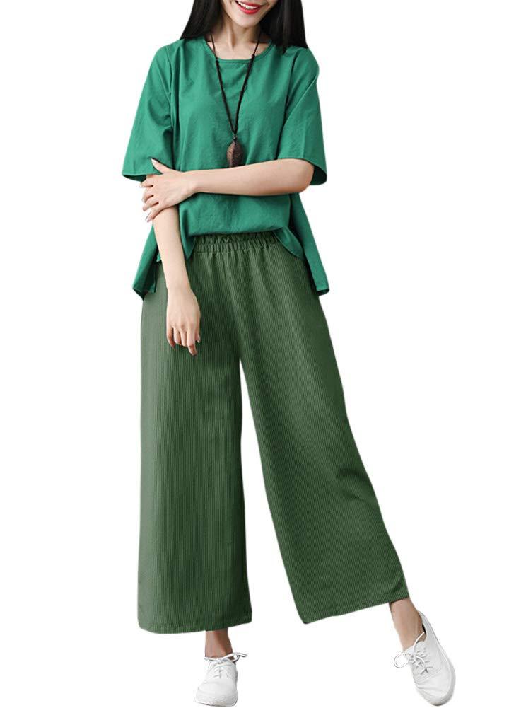 Romacci Woman Casual Loose Wide Leg Pants Elastic Waist Pockets Striped Print Trousers by Romacci (Image #2)