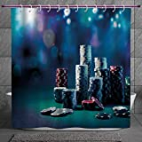 SCOCICI Unique Shower Curtain 2.0 [ Poker Tournament Decorations,Gaming Table with Poker Chips Dramatic Display Vegas Leisure Decorative,Multicolor ] Machine Washable,Shower Hooks are Included