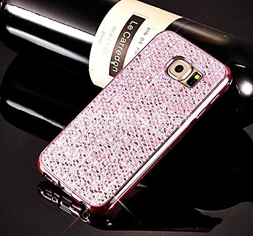 Carcasas Samsung Galaxy S6 Edge, Funda Samsung Galaxy S6 Edge Glitter, EUWLY Elegante Lujo Moda Brillo Purpurina Fina Silicona Funda Cover Glitter Sparkle Plating Diseño Carcasas Caso Bling Glitter Ga Brillante Rosa