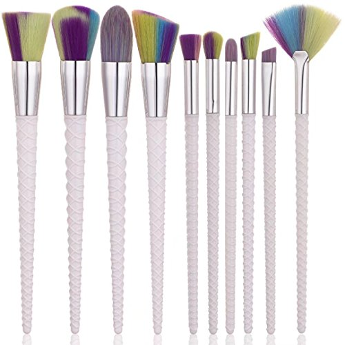 Oblique Head - iTME [Upgrade Version] Premium Makeup Brush Set With Colorful Hair Synthetic Cosmetics Flame Foundation Brush, Fan, Flat Head, Blush, Oblique, Nose, Lip Makeup Brush Kit (10pcs, Colorful Hair Blush)