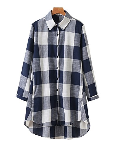 HOOBEE LINEN Women's Roll Up Sleeve High-Low Hem Plaid Shirt Top with Pockets