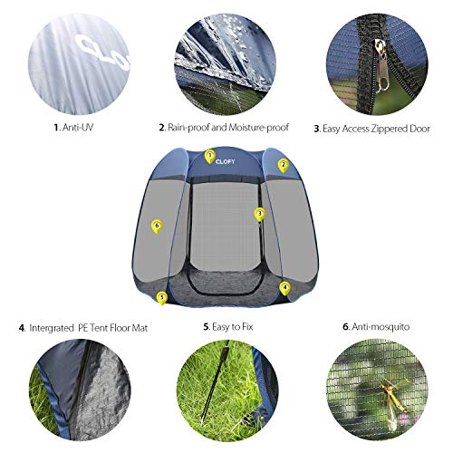CLOFY Instant Screen Shelter Room with PE Tent Floor Mat 360 Views Pop-up Screened Canopy Tent Instant Portable 10 x10 x7 Screenhouse for Camping and Travel Instant 30 Seconds Setup No Tool Needed