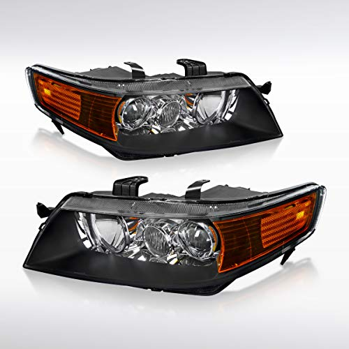 Autozensation Acura TSX Projector Headlights Black Housing Clear Lens w/Amber Reflector ()