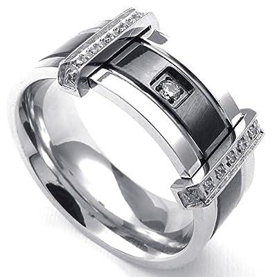 KONOV Jewelry Mens Cubic Zirconia Stainless Steel Ring, Charm Elegant Wedding Band, Black Silver