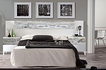 cabezal cama de matrimonio 2 mesitas de noche estilo vintage color blanco brillo y