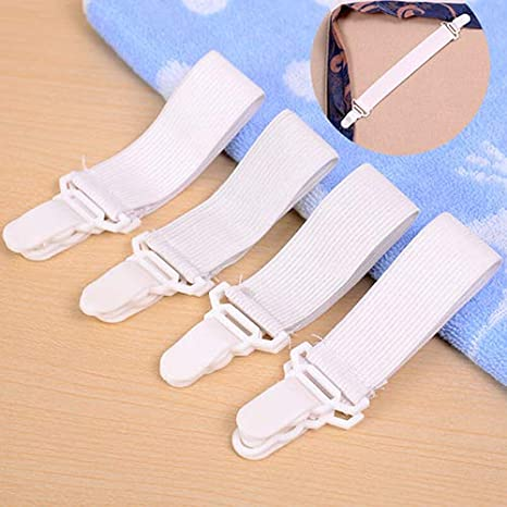 4 Pcs//Set Elastic Bed Sheet Mattress Cover Blanket Gripper Clip Holder Fastener
