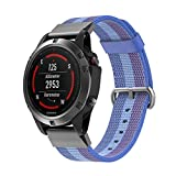 Huamecl New Nylon Watch Fine Woven Band Replacement Strap for Garmin Fenix 5 Smart Watch-Blue