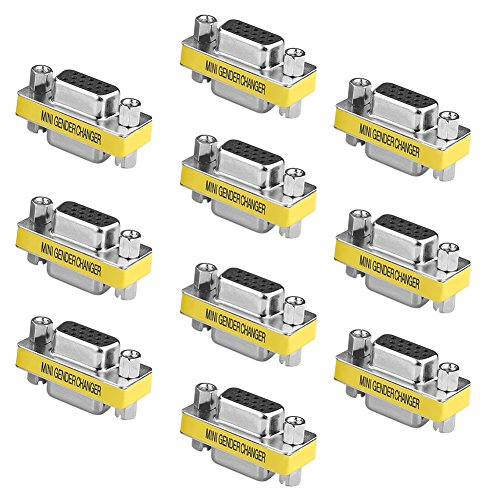 - SIENOC 10 Packs 15 Pin VGA SVGA Female to Female Mini Gender Changer Coupler Adapter