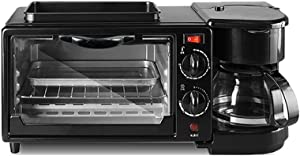 KLYHCHN Toaster whall Stainless Steel Function,Removable Crumb Tray,Toast Evenly and Quickly for Various Bread three in one breakfast machine household electric oven toaster frying (Black)