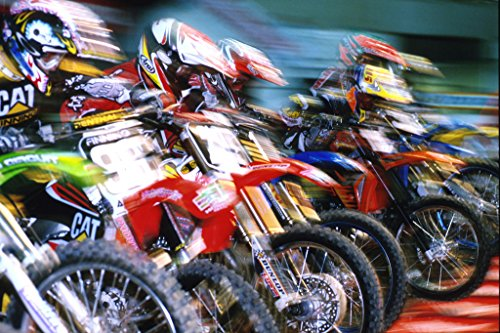 Motocross Racing in Action Photo Art Print Poster 18x12 inch (Motocross Poster)
