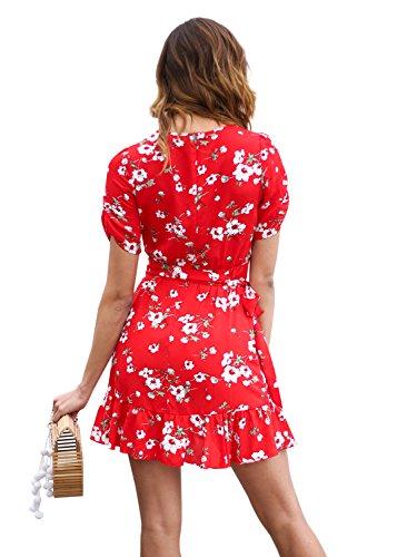 Abbigliamento Profondo Donna Vestito Spiaggia Floreale Simplee Vestito Stampa Sexy Del Volant Cintura Mini Con qUU1Bw