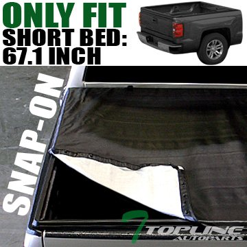 Topline Autopart Snap-On Tonneau Cover 01-03 Ford F150 Supercrew Super Crew Cab 5.5 Ft Short Bed