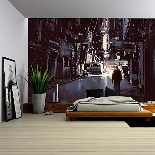 Cheap  wall26 - Illustration - man walking alone in dark city,illustration painting -..