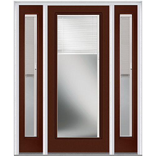 National Door Company Z010321L Steel Redwood, Left Hand In-swing, Prehung Door, Full Lite, Clear Glass with RLB, 36'' x 80'' with 14'' Sidelites by National Door Company