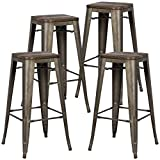 Poly and Bark Trattoria bar Stool with Elm Wood Seat in Bronze (Set of 4)