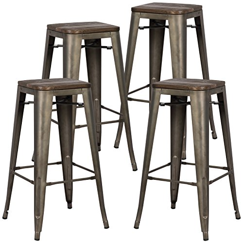 wood bar stool chairs - 9
