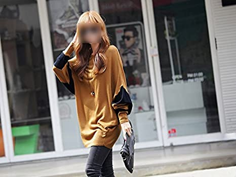 Amazon.com: Women Tops Contrast Batwing Sleeve Camisetas Long Loose Pullover Blusas Femininas Brown: Everything Else