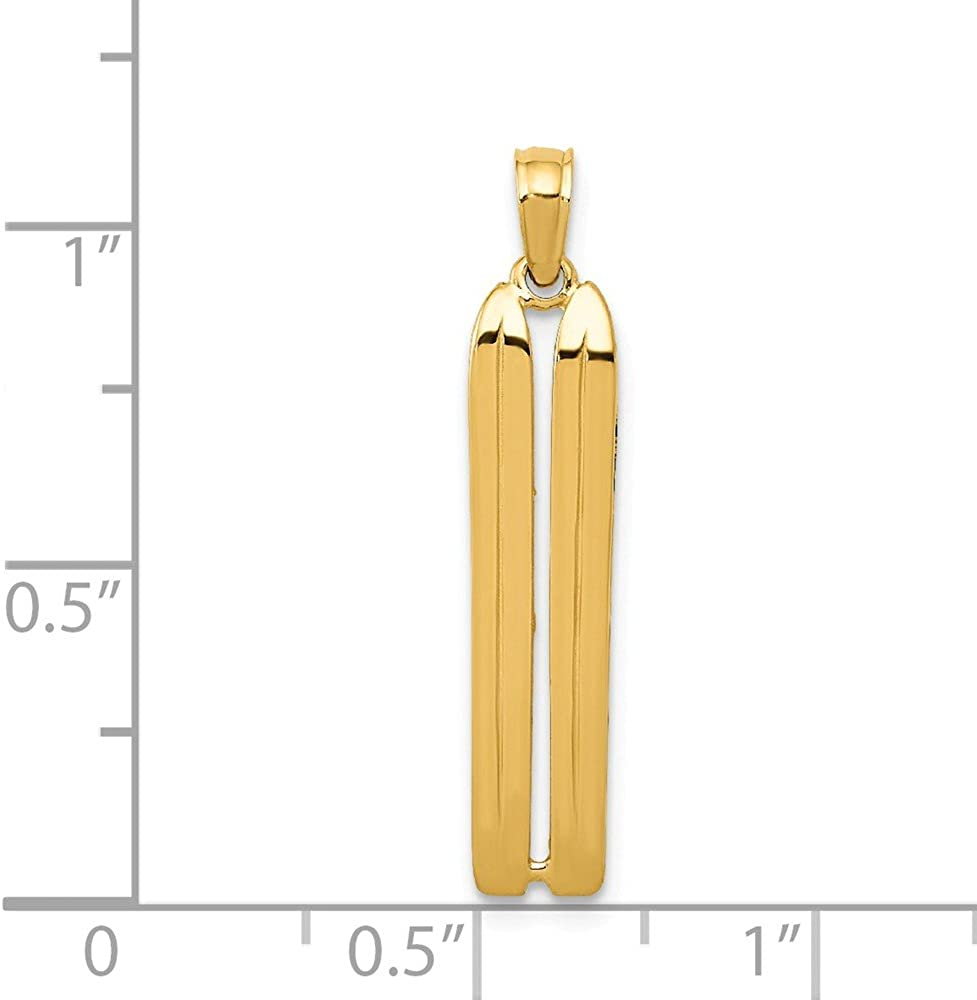 FB Jewels Solid 14K Yellow Gold 3-D Snow Skis Pendant