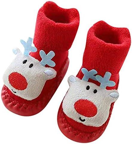 کفش پسرانه Haluoo پسران کریسمس ضد لغزش کف کفش دمپایی جوراب ضد لغزش نرم نرم جدید لغزش نوزاد پیش پاشنه کفش نوزاد چکمه های برفی