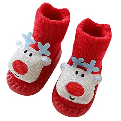 Londony ♥‿♥ Toddler Newborn Christmas Socks,Baby Boys Girls Floor Socks Anti-Slip Baby Step Socks for 0-24 Months