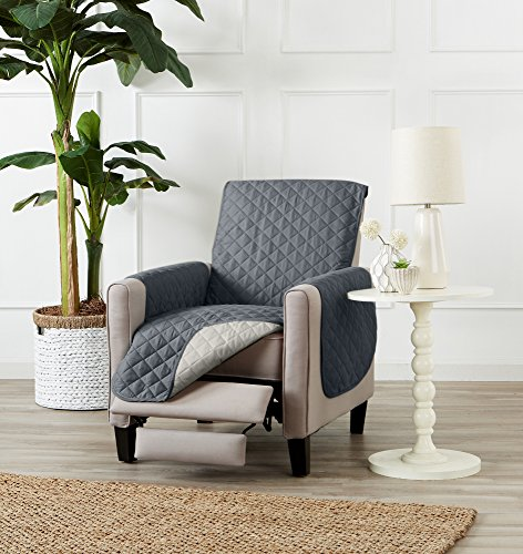 Recliners Casual Microfiber Recliner - Deluxe Reversible Quilted Furniture Protector. Two Fresh Looks in One. By Home Fashion Designs Brand. (Recliner - Charcoal / Beige), 79