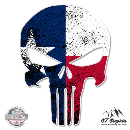 Punisher Skull Texas Flag - 3' Vinyl Sticker - For Car Laptop I-Pad Phone Helmet Hard Hat - Waterproof Decal