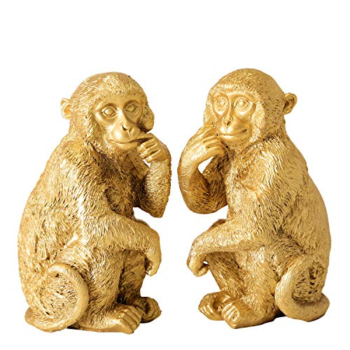 - WHW Whole House Worlds 2 Piece Golden Chimp Figurines, Artisan Crafted, Detailed Hand Painted Gold, Cast Poly Resin, Each 2 1/2 Wide x 4 1/4 Tall Inches, Lucky Animal Sculptures