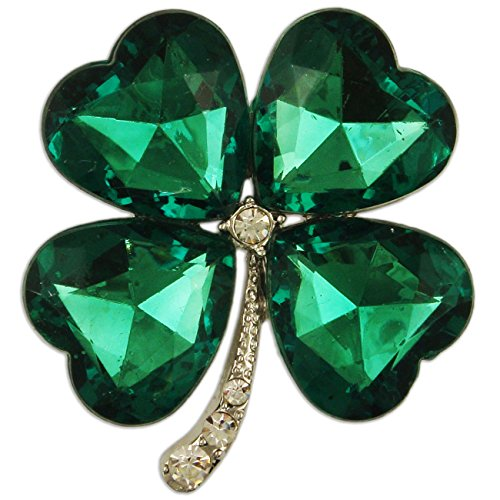 CRYSTAL GREEN FOUR LEAF CLOVER BROOCH PENDANT PIN MADE WITH SWAROVKI ELEMENTS (rhodium-plated-base-metal)