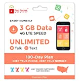 Red Pocket Mobile Premium 180 Day Prepaid Phone Plan, No Contract, Free SIM Kit; Unlimited Talk, Unlimited Text & 3 GB of LTE Data - Only $25.50/Month