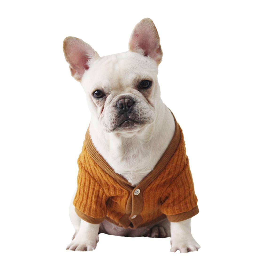 Mieel Cappotto Cucciolo Caldo Vestiti Autunno Inverno Animale Domestico Maglieria Traspirante Cane Vestiti Slim Fit Eleganti Pet Abbigliamento Bulldog Francese Moda Maglione Tinta Unita Cotton
