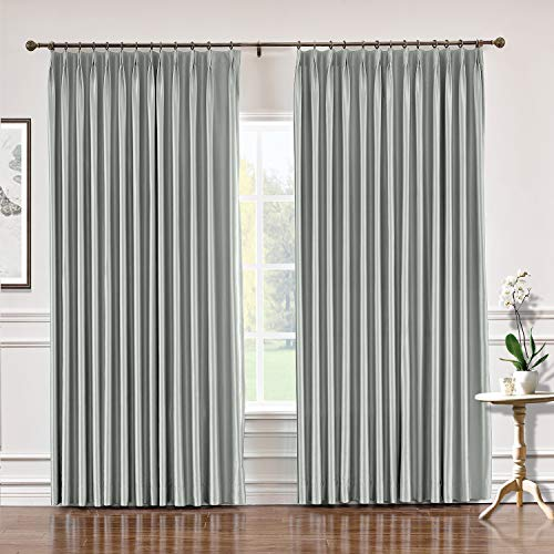 (TWOPAGES 84 W x 84 L Pinch Pleat Faux Silk Blackout Curtains Drapery Panel for Traverse Rod Or Track, Living Room Bedroom Meetingroom Club Theater Patio Door (1 Panel), Pewter)
