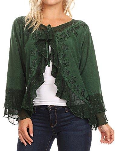 Sakkas 1669 - Jimena Womens Ruffle 3/4 Sleeve Open Front Cropped Cardigan Top Lace - Green - XL