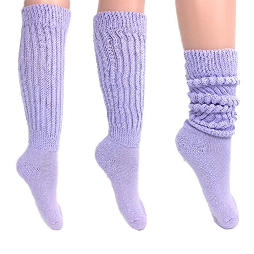 Women's Extra Long Heavy Slouch Cotton Socks Made in USA Size 9 to 11 (3 Pairs - Lilac) (Ladies Purple Cotton Socks)