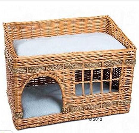 Caseta para gatos de 2 pisos de mimbre para interioresEsta casa viene con dos cojines y es ideal para dormir o descansar.: Amazon.es: Productos para ...