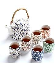 fanquare Vintage kwiatowy porcelanowy zestaw do herbaty, ręcznie wykonany chiński ceramiczny zestaw do herbaty Kungfu, 1 czajniczek i 6 filiżanek do herbaty