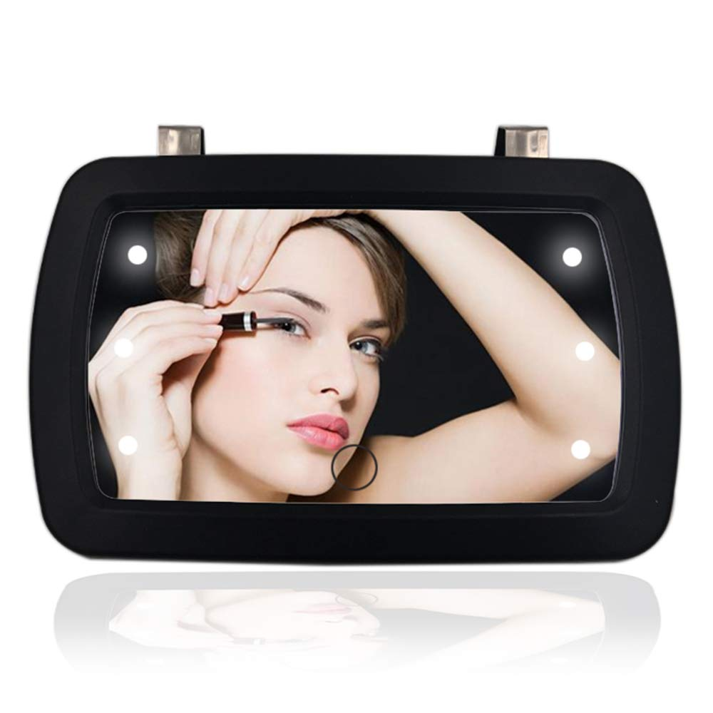 Car Sun Visor Mirror with LED Lights Makeup Sun-Shading Cosmetic Mirror Clip on Vanity Mirror Automobile Make Up Mirror with Touch Screen