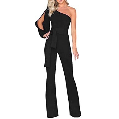 dbdb9559acf Amazon.com  Alixyz Women One Shoulder Solid Jumpsuits Wide Leg Long Romper  Pants with Belt  Clothing