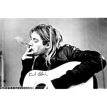 Amazon.com: Kurt Cobain (Smoking) Music 24x36 Wood Framed Poster Art ...