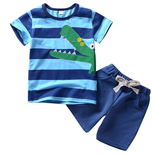 1-6T Toddler Kids Boys Crocodile Shorts Pajamas Set Sleepwear Summer Clothes (5-6T) Crocodile Short
